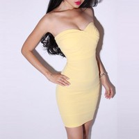 Bqueen Sexy Solid Color Dress Yellow LN034Y - Designer Shoes|Bqueenshoes.com