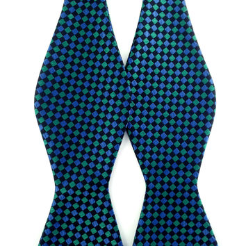 Green Black Aqua Blue Pattern Checks - Self-Tied Bow Tie