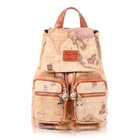 Women Lady Fashion Faux Leather Vintage Antiquated Map Bag Backpack Bp01