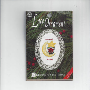 Christmas Lace Ornament Kit Featuring Santa on the Moon, Counted Cross Stitch, Designs for the Needle by Terri Steinmeyer, Sealed Package