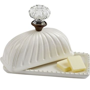 "Door Knob Butter Dish Dimensions: base 3 1/2"" x 7"" 