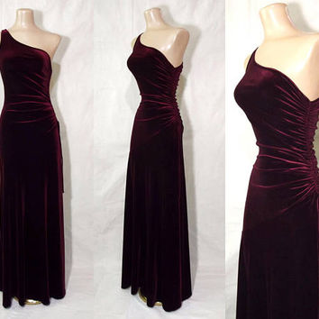 Vintage 90s Merlot Velvet Cold Shoulder Gown | 1990s Stretch Velvet Cocktail Dress | Ruched Bodice | One Shoulder Long Dark Red Velvet Dress