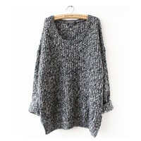 Women's Clothes Tops Pullovers Casual Long Sleeve Jumpers Loose Knitted Pullover Sweater