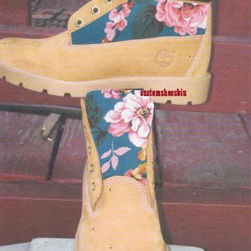 Custom Blue Floral Pink Tropical Print Timberland Boots