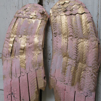 Powder pink angel wings wall decor accented in gold metal and wood  rusty distressed shabby cottage chic home design by anita spero
