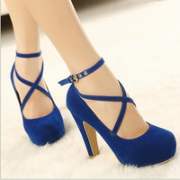 Women Strappy High Thin Heels Pumps 2015 Sexy Women Dress Shoes Ladies Wedding Wear Low Cut Cross Buckle Black/Blue/Red = 1946889092