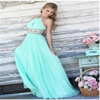 New Sexy 3 Colors Women Summer Dresses Evening Party Wedding Ball Gown Prom Halter Long Casual Beach Maxi Dress
