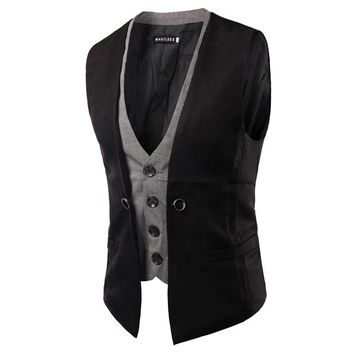 2017 Spring Fashion New Basic Casual Suit Vest Men,Brand Quality Tank Tops,Faux Two Piece Waistcoat,FreeDrop Ship Plus Size XXL