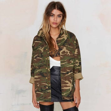 Women Vintage Military Camo Classic Long Sleeve Bomber Jacket Camouflage Coat Outwear