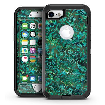 Green Damask Watercolor Pattern - iPhone 7 or 7 Plus OtterBox Defender Case Skin Decal Kit