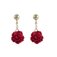 8mm Red Rose Flower Dangling, On Gold Plated Sterling Silver Ball Post Earrings, 0.94