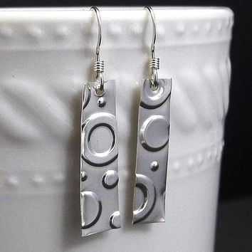 Circle Sterling Silver Drop Earrings, Geometric, Circle Jewelry, Shape Jewelry