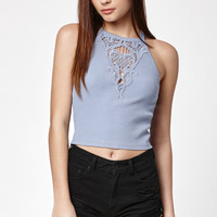Kendall and Kylie Ribbed Crochet Yoke Cami Tank Top at PacSun.com