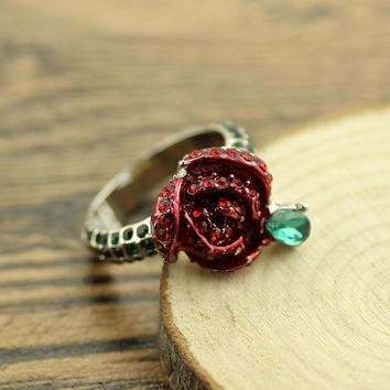 2017 Beauty and the Beast Rings The Rose Full OF Crystal Wedding Jewelry For Women Beauty And The Beast Valentines Day Gift