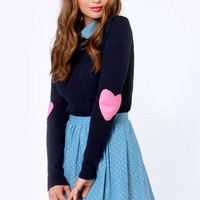 Heart On Your Sleeves Navy Blue Sweater