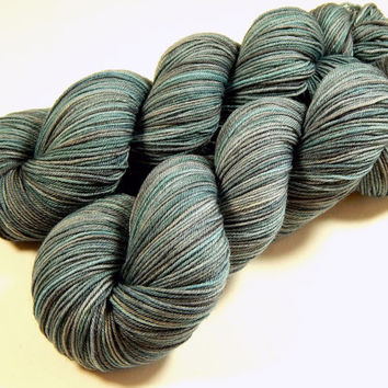 Hand Dyed Yarn - Sock Weight 4 Ply Superwash Merino Wool Yarn - Storm Clouds - Knitting Yarn, Sock Yarn, Wool Yarn, Blue Grey Gray