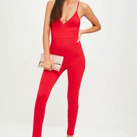 Missguided - Red Jersey Strappy Unitard Jumpsuit