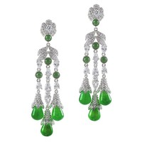 Triple Fringe Jade Earrings