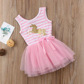 Pretty Little Girl Baby Unicorn Summer Sleeveless Striped Pink Mesh Tulle Party Wedding Tutu Summer Dress