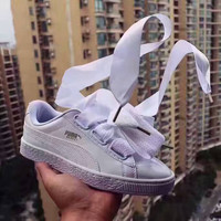 Puma Suede Basket Heart bow shoes flying angel