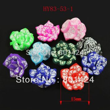 free shipping 83-53 40pcs diy jewelry beads Mixed Colorful Fimo Polymer Clay  Flower  Beads Beads Fit bracelet  space beads