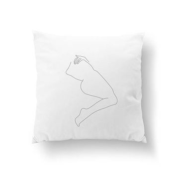 Woman Body From Back, Throw Pillow, Body Drawn, Minimal Art, Bed Pillow, Home Decor, Black And White, Woman Figure Pillow, Cushion Cover