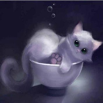 5D Diamond Painting Kitten in a Cup Kit
