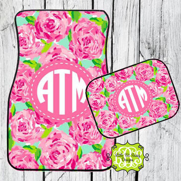 Car Mats Personalized Pink Roses Monogrammed Floor Car Mat Initial Pink Rose