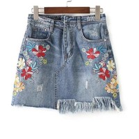 Summer Skirts New Casual Solid Skirts Women's Fashion Loose Floral Embroidery Denim Skirt