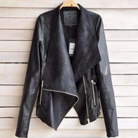 Glossy PU Leather Jackets For Women
