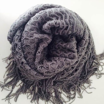 Gray Pointelle Fringe Infinity Scarf