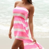 Neon Pink Striped High-Low Tube Dress Cover-up