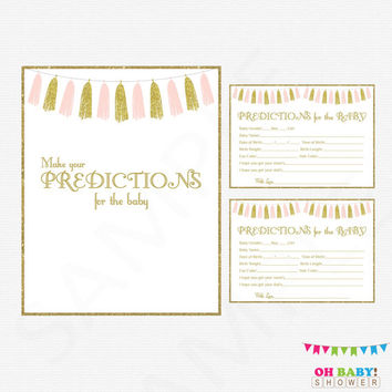 Pink and Gold Baby Shower Predictions for Baby, Baby Predictions, Pink and Gold Baby Shower Games, Printables, Girl, Tassels TASPG