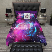 Lightweight Galaxy Bedding - Cosmos Duvet Cover & Pillow Cases, Outer Space Comforter Cover, Stary Night Bed Set - Nebula