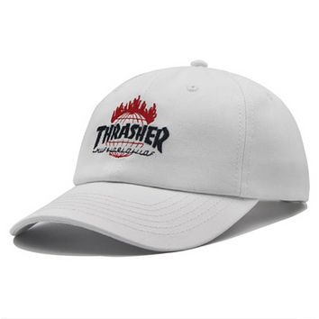 Thrasher New fashion embroidery letter couple cap hat White