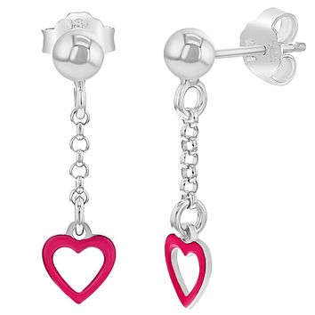 925 Sterling Silver Pink Enamel Heart Dangle Earrings for Girls Teens