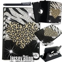 Zebra Leopard Heart iPad 2/3/4 Jersey Bling Crystal & Rhinestone Leather Folio with 360 Rotating Case Cover (Zebra Leopard Heart)