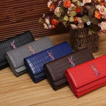 DCCK Yves Saint Laurent YSL' Women Fashion Crocodile Pattern Long Section Purse Button Three Fold Wallet Handbag