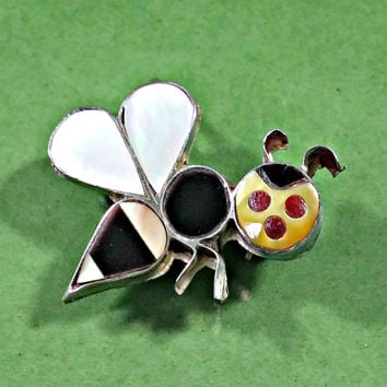 Vintage Bee Pin Sterling Silver Southwestern Native American Made Black Onyx Mother of Pearl Shell and Stones Not Perfect But Perfectly Cute