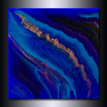 Original Painting: Cobalt Blue Abstract 6x6