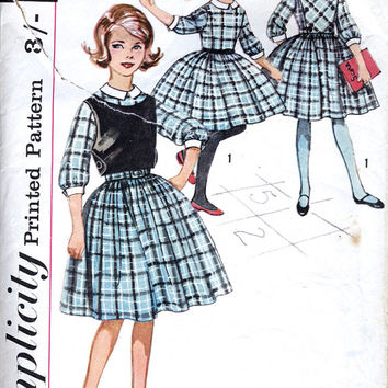 1960's Girls' Dress - Detachable Collar And Cuffs, Plastron & Top - Full Skirt Dress - Vintage Sewing Pattern - Simplicity 4082 - Chest 25""