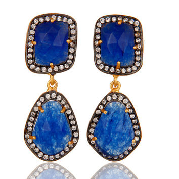 Blue AVenturine and White Zircon 18K Gold Vermeil Drop Dangler Earring Stud