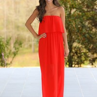 Stepping Out Maxi Dress-Cherry