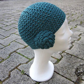 teal beanie,blue green beanie,flower beanie,green spring beanie,teal hat,cotton beanie,valentines gift,teal women beanie,hat with flower