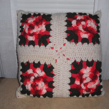 Vintage varrigated Red Rose Granny Square Crochet Pillow ~ Shabby chic Romantic cottage