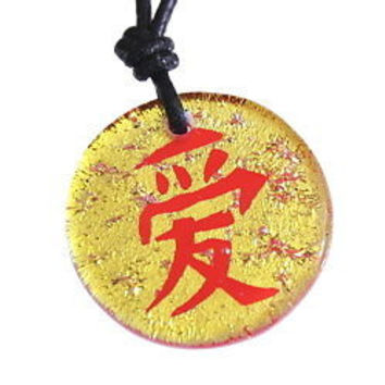 Dichroic Glass Pendant Chinese love Symbol