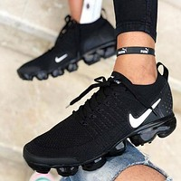 NIKE AIR VAPORMAX Fashion New Hook Print Women Men Running Shoes Black