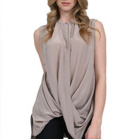 Sleeveless Twisted Front Shirt in Grey Cloud: Buy Gold Hawk at CoutureCandy.com