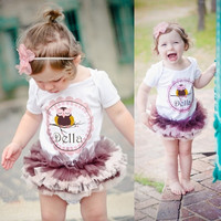Girl One Piece Cotton T-shirts Tutu Dress Romper Outfits Baby Clothes 0-3 Year = 1958508420