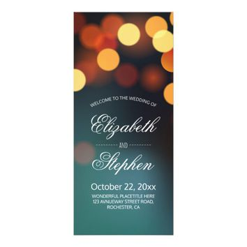 Chic Teal Gold Bokeh String Lights Wedding Program